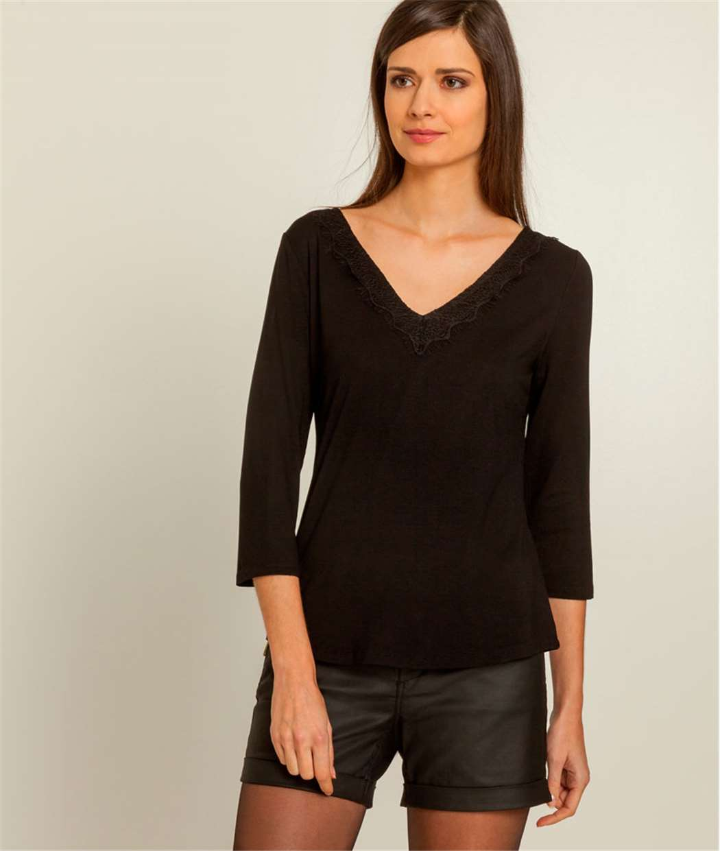 T-shirt femme col V dentelle NOIR