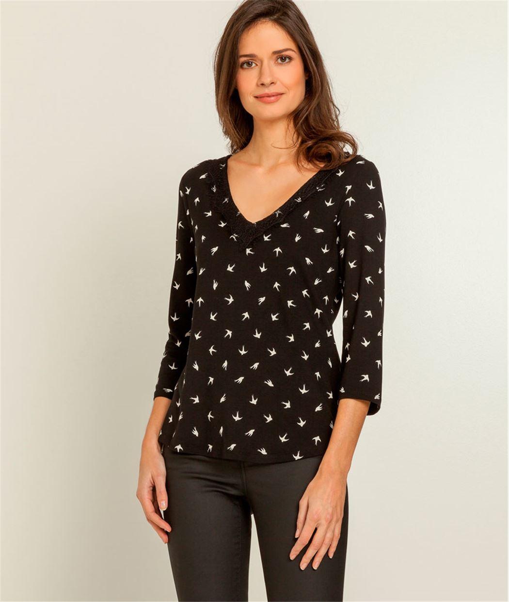 T-shirt femme imprimé hirondelles NOIR