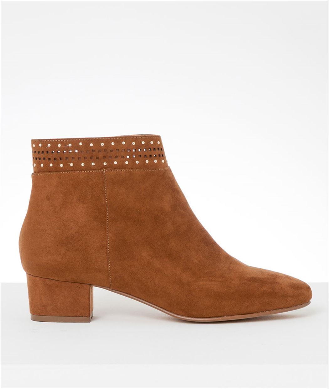 Boots femme ajourées cloutés CAMEL