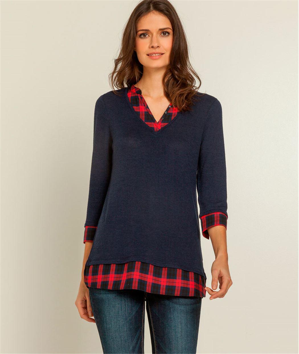 T-shirt femme 2 en 1 carreaux BLEU MARINE