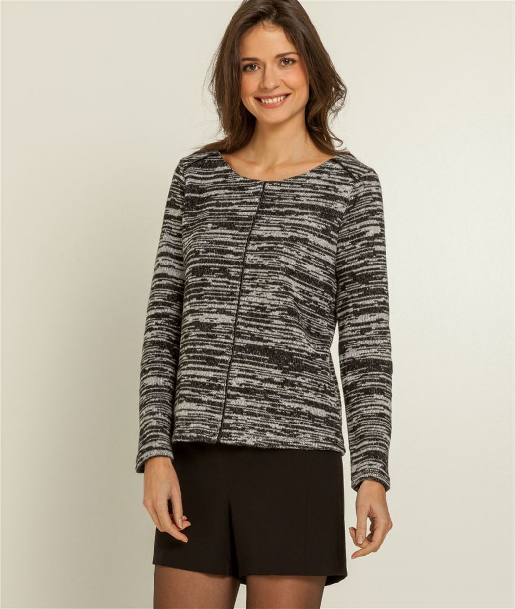 Sweat femme maille bicolore GRIS