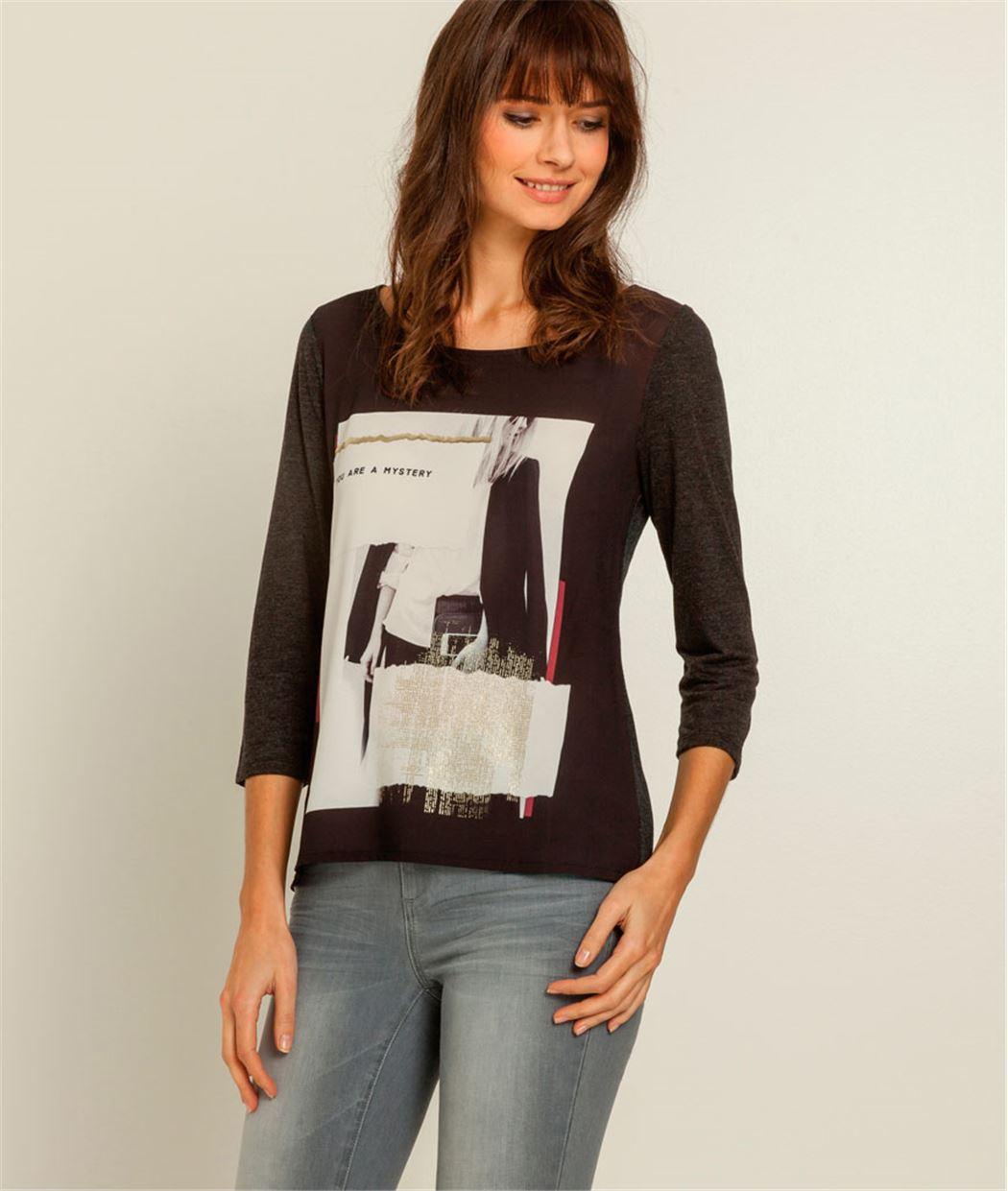T-shirt femme bimatière imprimé photo NOIR
