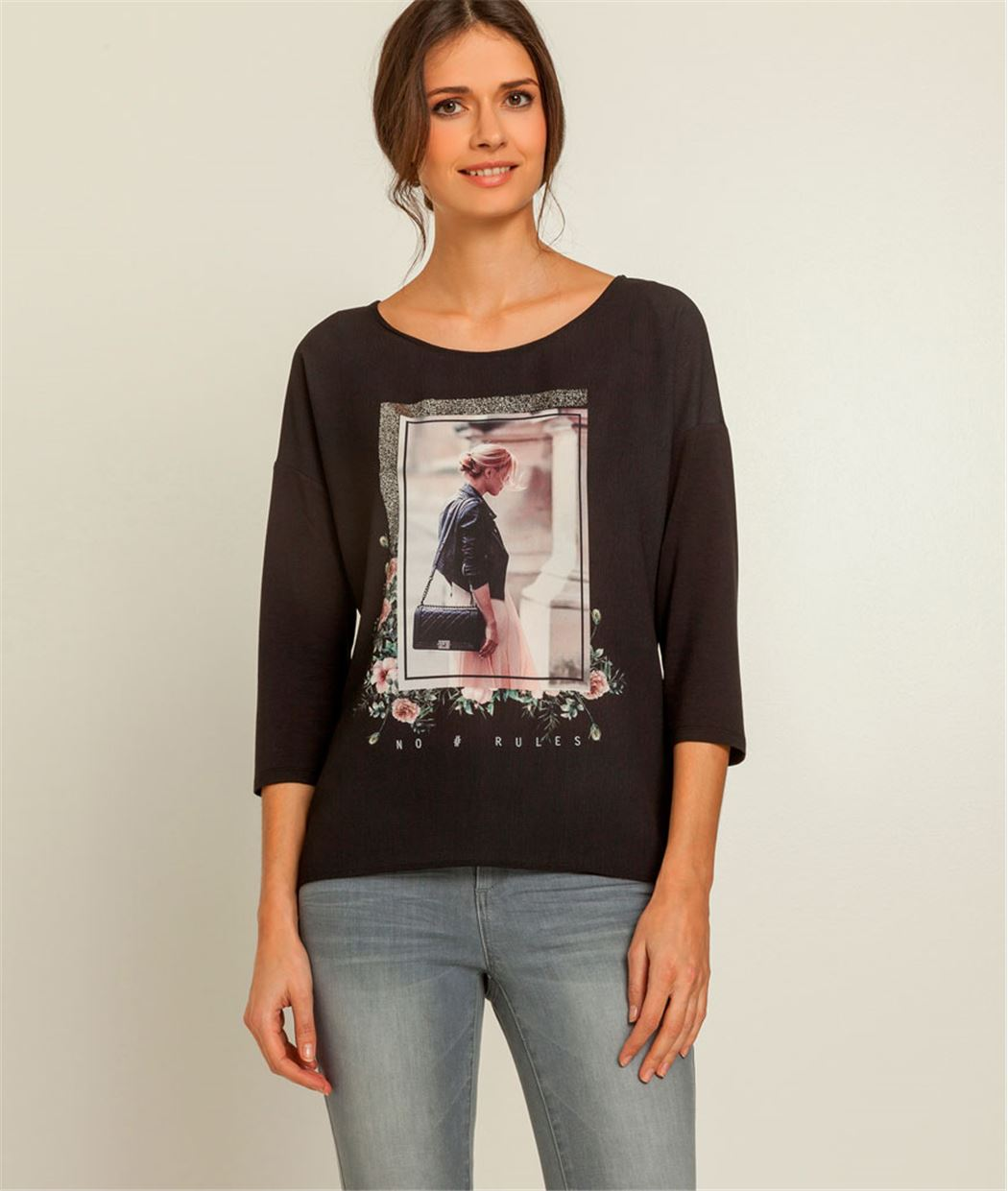 T-shirt femme photo imprimé NOIR