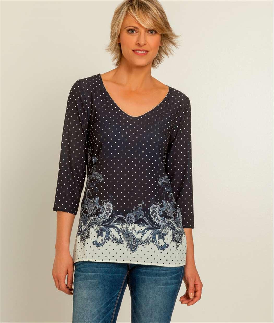 T-shirt femme tunique imprimée BLEU MARINE