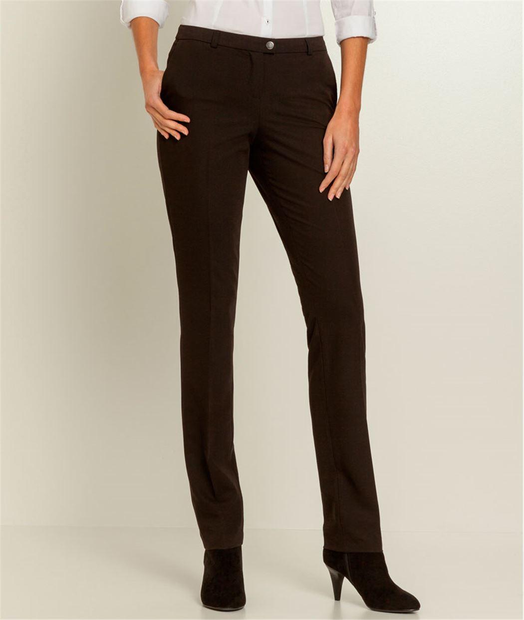 Pantalon femme droit stretch NOIR