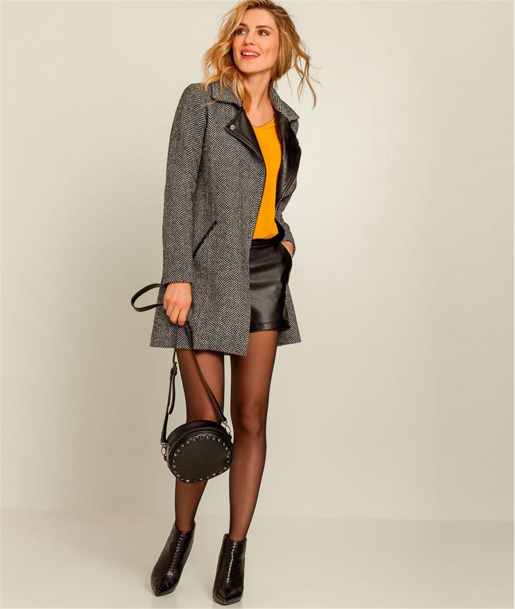Manteau femme lainage chevrons GRIS