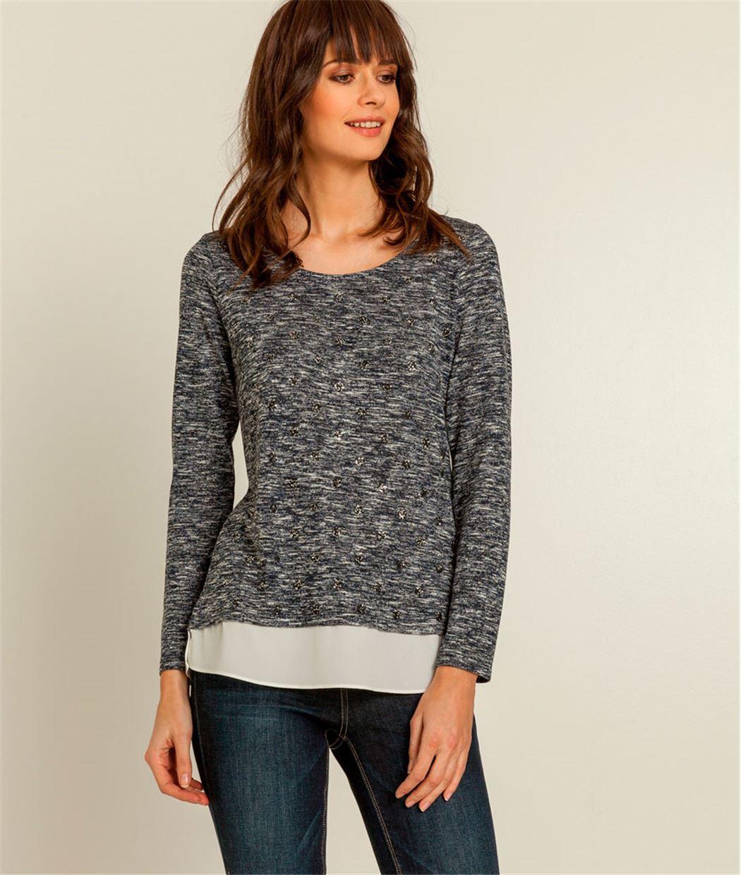 T-shirt femme mouliné ave sequins BLEU MARINE