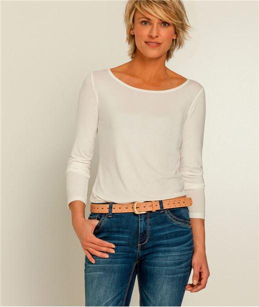 T-shirt femme manches longues col rond ECRU