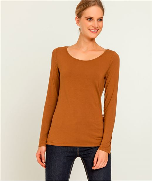 T-shirt femme manches longues col rond CAMEL