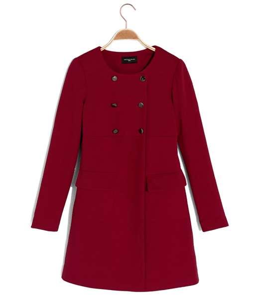 Manteau femme couleur relief FRAMBOISE