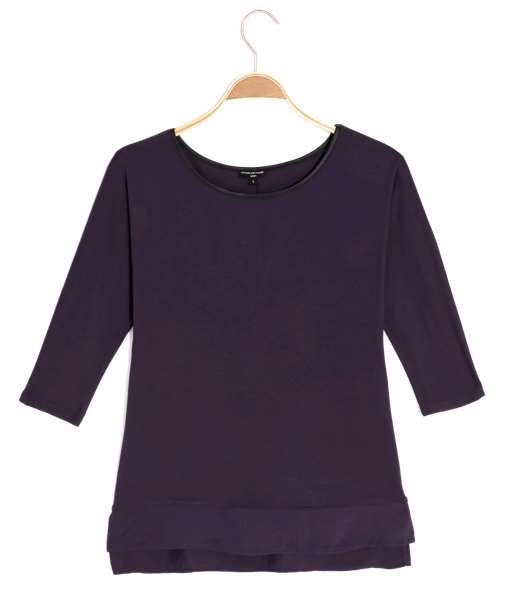T-shirt femme uni bimatière VIOLET