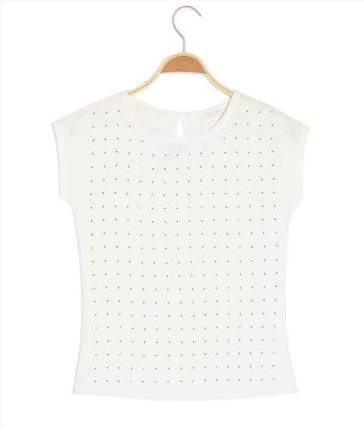 T-shirt femme bimatière clouté ECRU