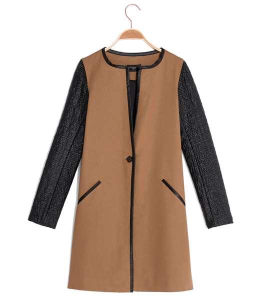 Manteau femme long bimatière CAMEL