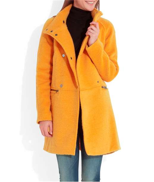 Manteau femme jaune double boutonnage TOURNESOL
