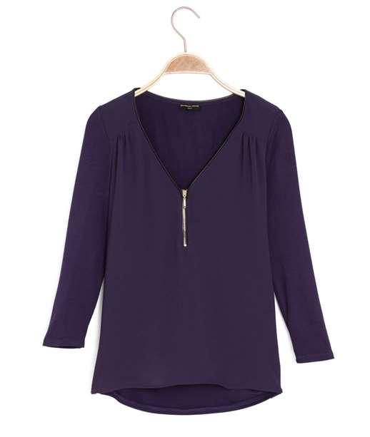 T-shirt femme bimatière zippé VIOLET