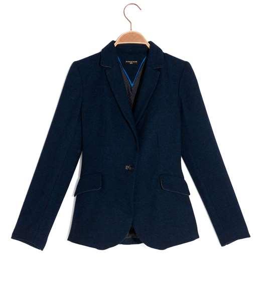 Veste femme tailleur lainage fantaisie BLEU