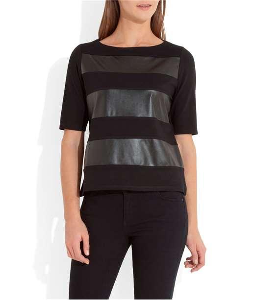 T-shirt femme rayures en simili cuir NOIR