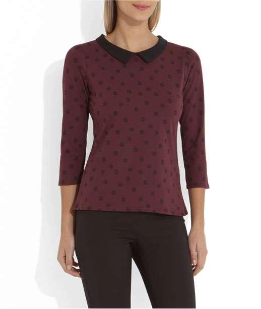 T-shirt femme imprimé pois col claudine BORDEAUX