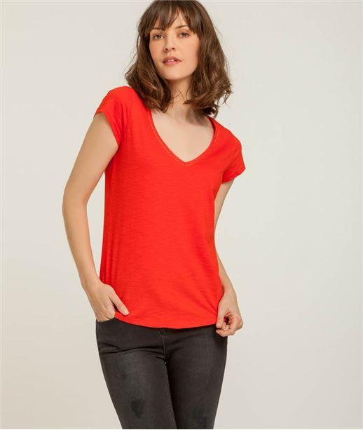 T-shirt femme col V avec broderie ROUGE