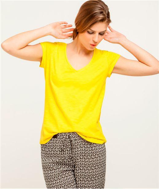 T-shirt femme col V avec broderie CITRUS