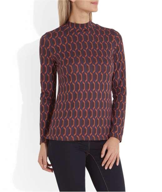 T-shirt femme imprimé seventies CARAMEL