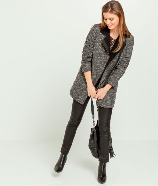 Manteau femme col fausse fourrure lainée GRIS MOYEN