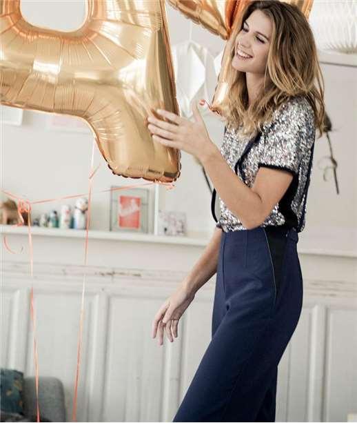 Pantalon femme large à bretelles MARINE