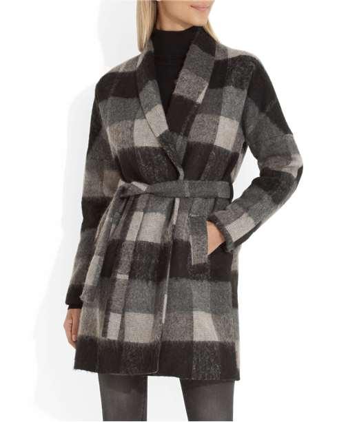 Manteau femme à carreaux GRIS