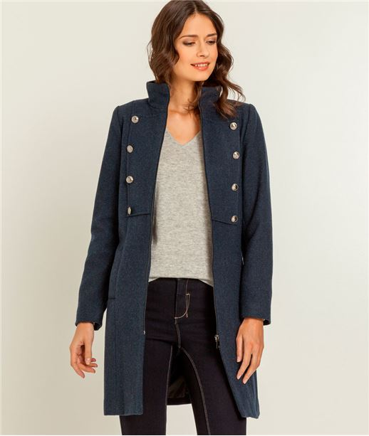 Manteau femme militaire en laine BLEU
