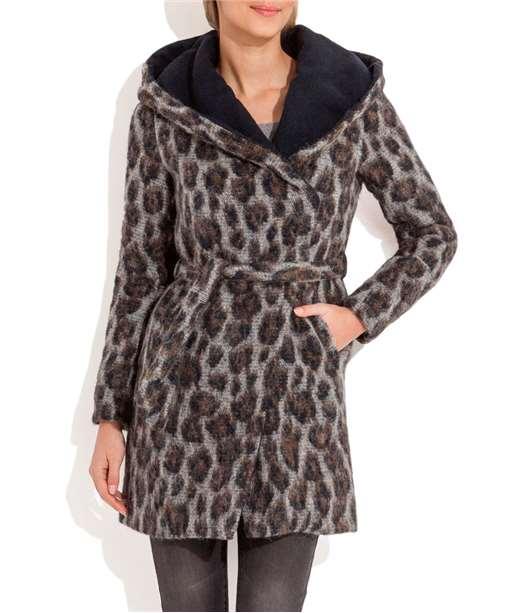 Manteau femme capuche imprimé léopard GRIS