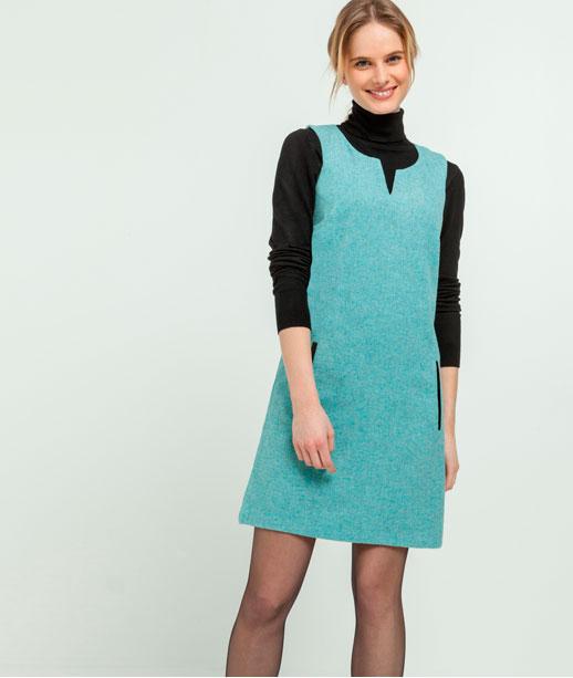 Robe unie avec laine et patchs vinyle JADE