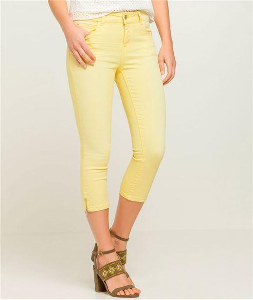 Corsaire couleur avec zip bas de jambe JAUNE