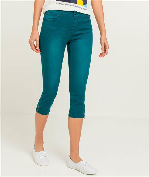 Corsaire couleur avec zip bas de jambe BLEU