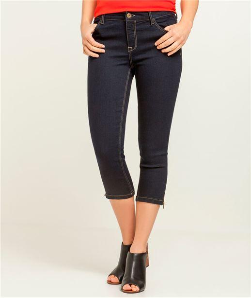Pantalon denim femme corsaire BLUE BLACK