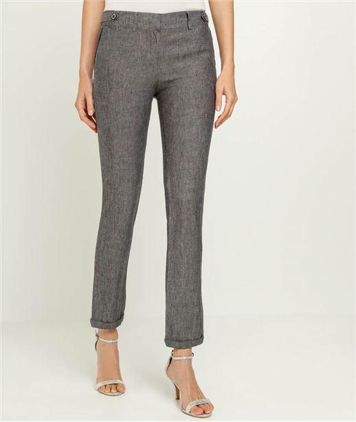 Pantalon femme chino 100% lin GRIS