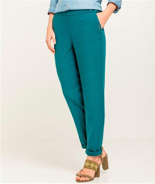 Pantalon femme fluide couleur BLEU