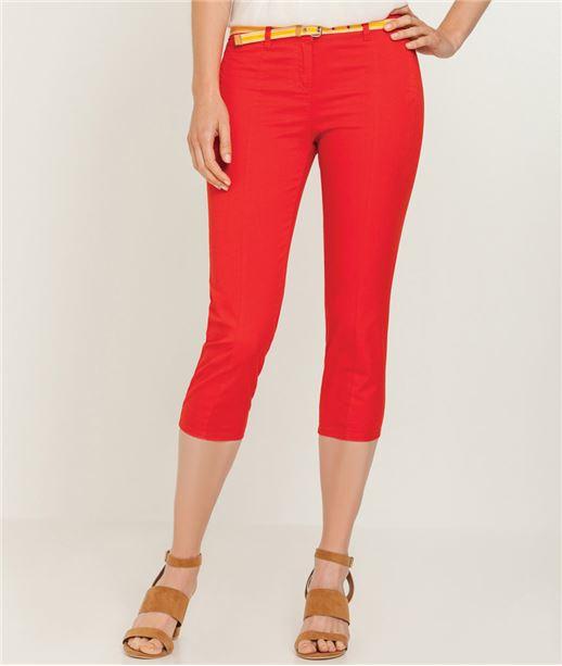 Pantalon femme corsaire couleur ROUGE