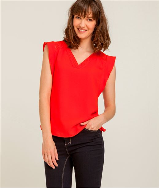 Chemisier femme broderie anglaise ROUGE