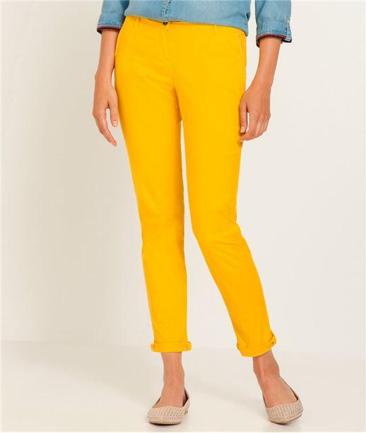 Pantalon femme chino couleur JAUNE