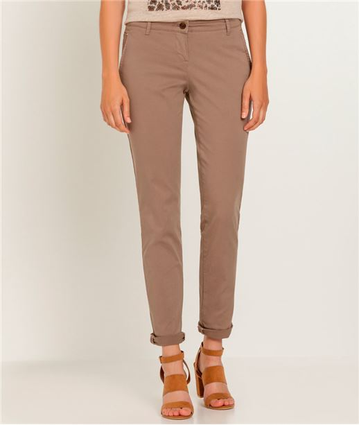 Pantalon femme chino couleur TAUPE