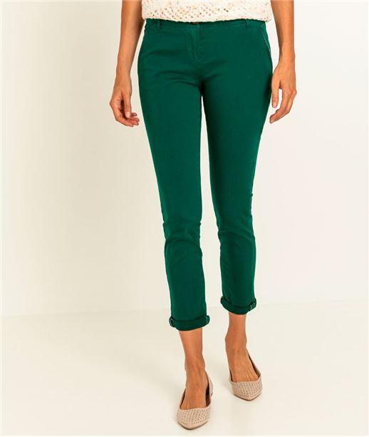 Pantalon femme chino couleur VERT FONCE