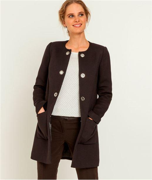 Manteau femme à oeillets sans col NOIR