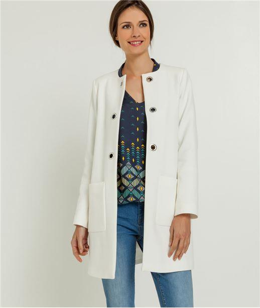 Manteau femme droit sans col BLANC CASSE