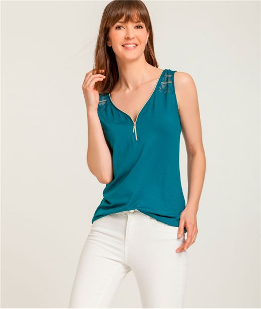 T-shirt femme débardeur zippé + dentelle BLEU SARCELLE