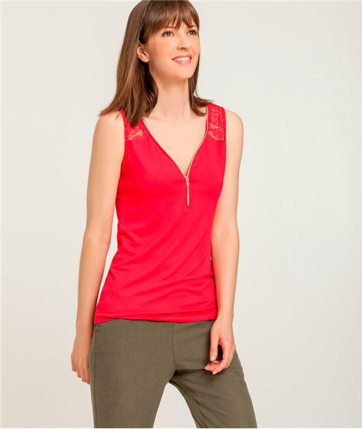 T-shirt femme débardeur zippé + dentelle FRAMBOISE