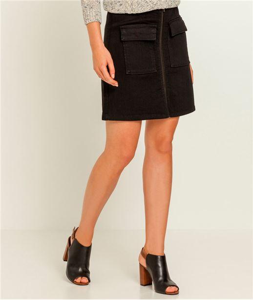 Jupe en jean noir zippée BLACK