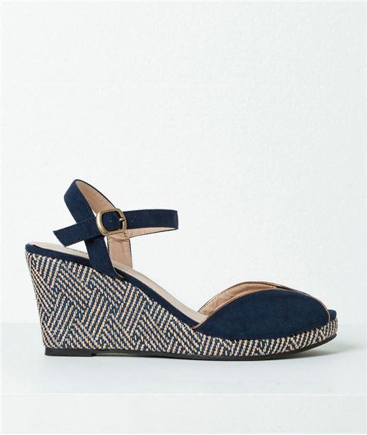 Chaussures femme sandales compensées BLEU