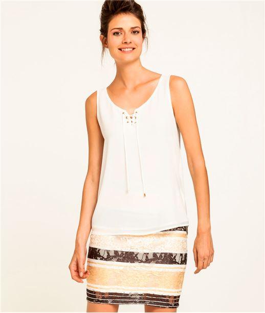 T-shirt femme débardeur à lacets ECRU