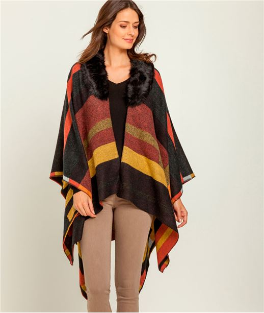 Poncho femme rayures et fausse fourrure OCRE