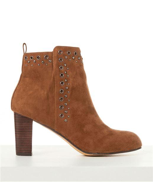 Chaussures femme boots suédine à talons CARAMEL